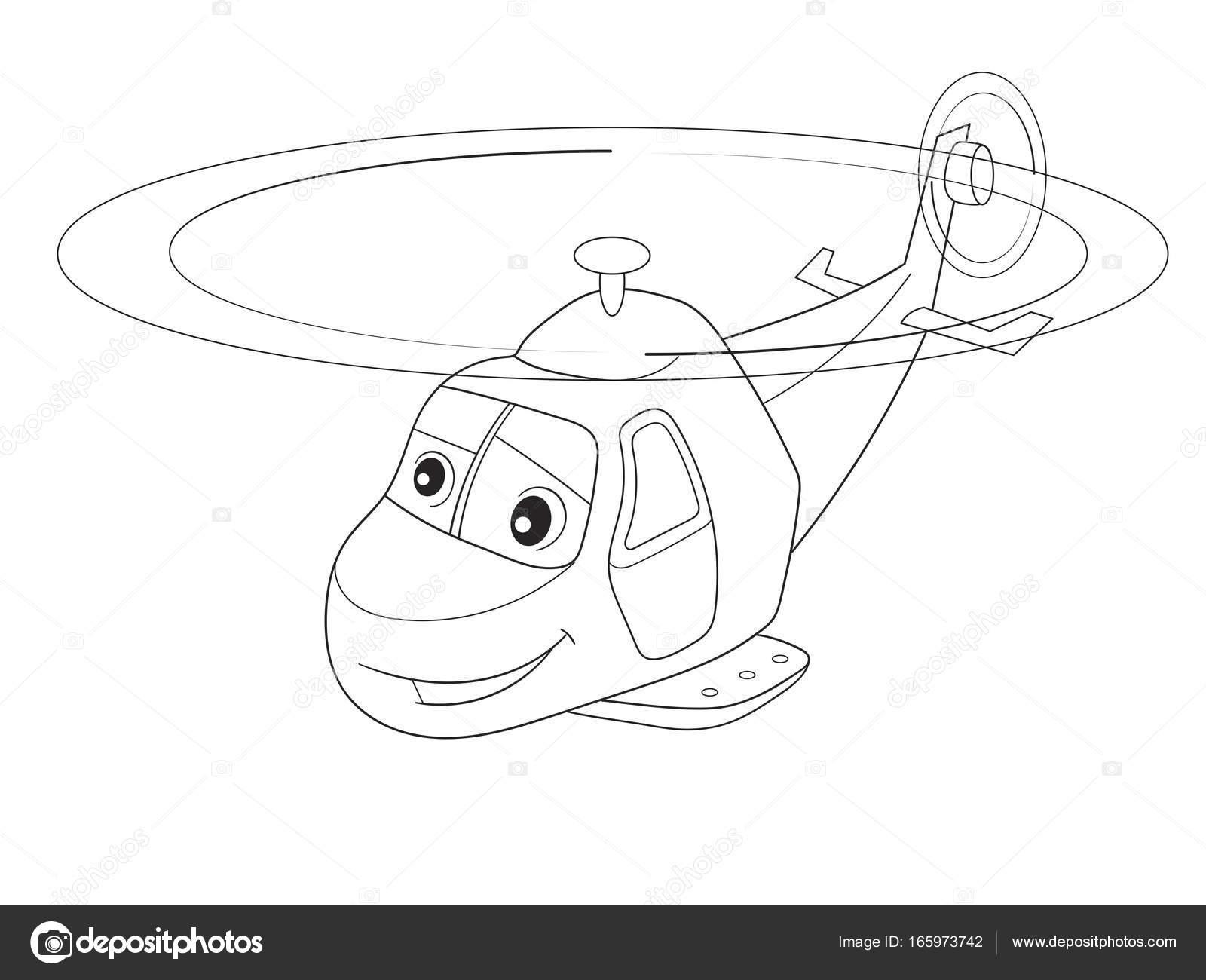 Cartoon Malvorlagen Hubschrauber mit Gesichtern. Transport lebender ...