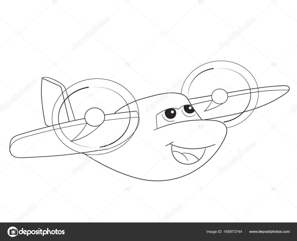 Cartoon Färbung Flugzeug mit Gesichtern. Transport lebender ...