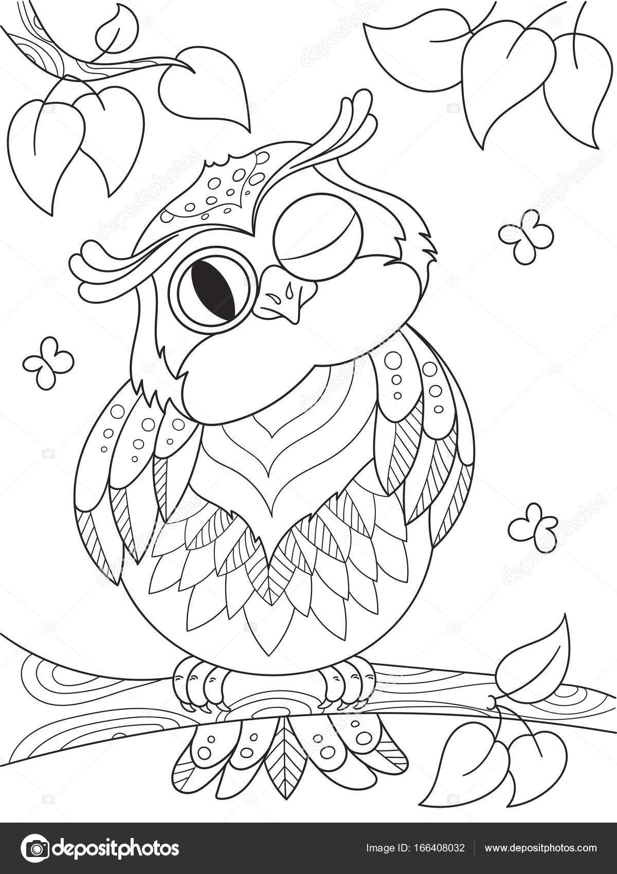 Libro para colorear de dibujos animados. Divertido búho en el árbol ...