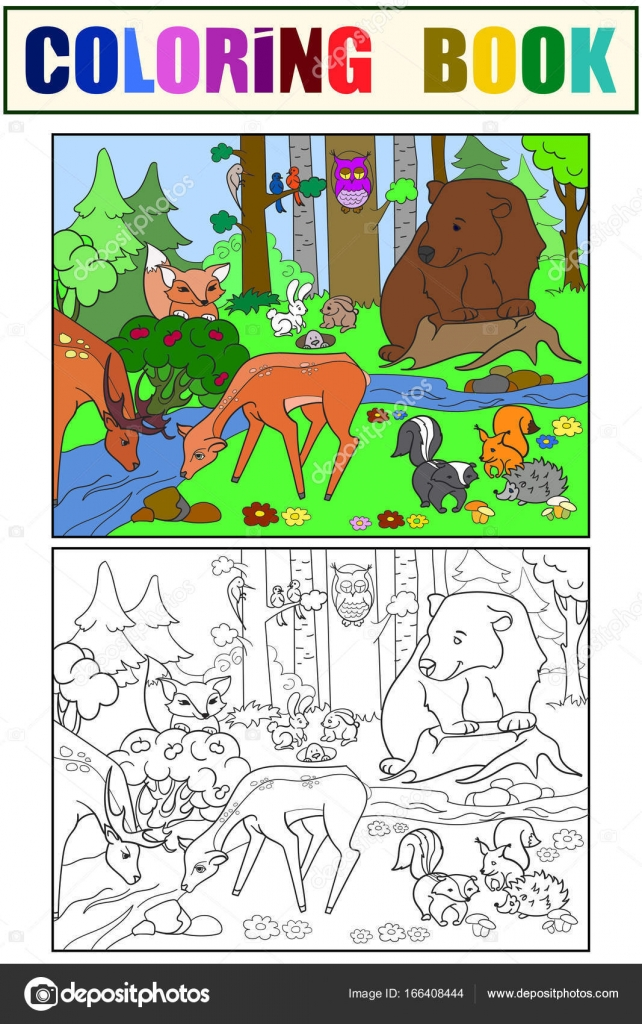 Paisaje de bosque con animales para colorear vector para adultos ...