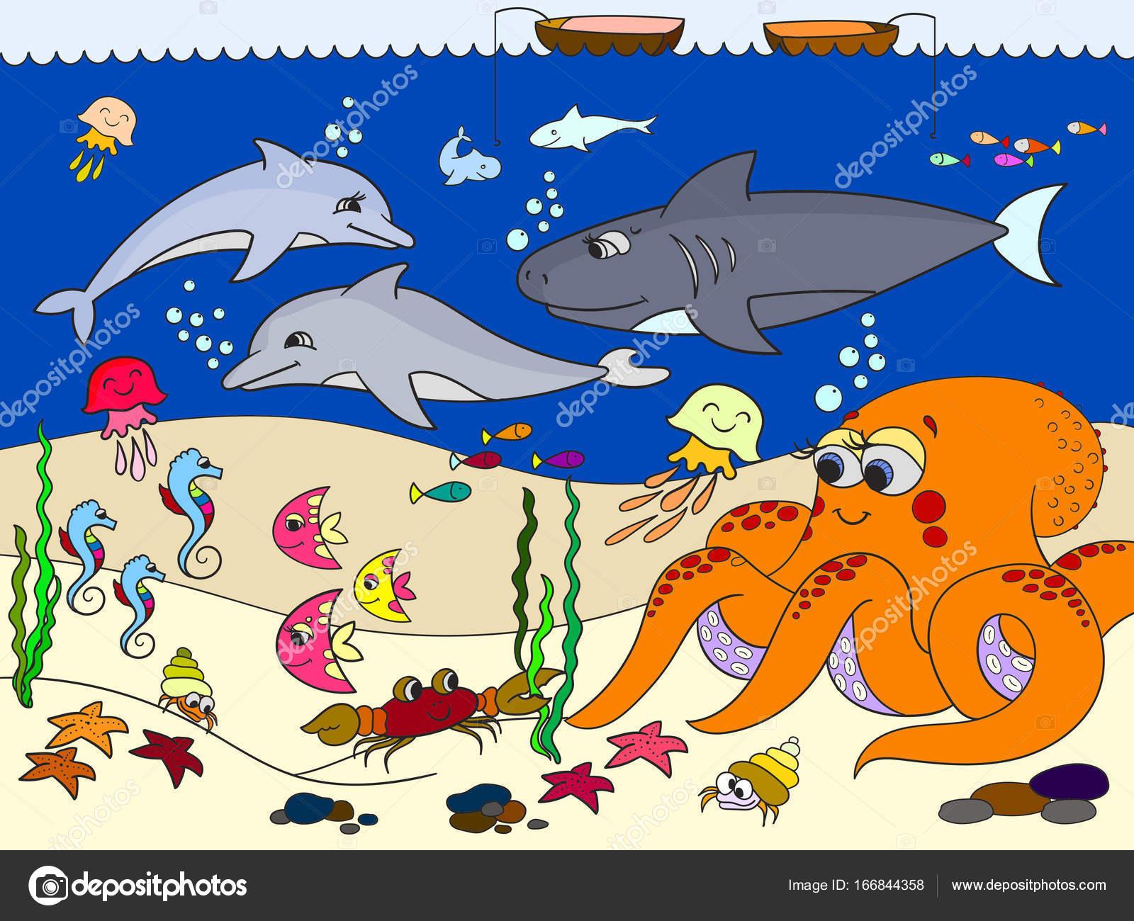 Dibujos De Animales Del Mar: Fondo Del Mar Con Animales Marinos. Vector Para Niños