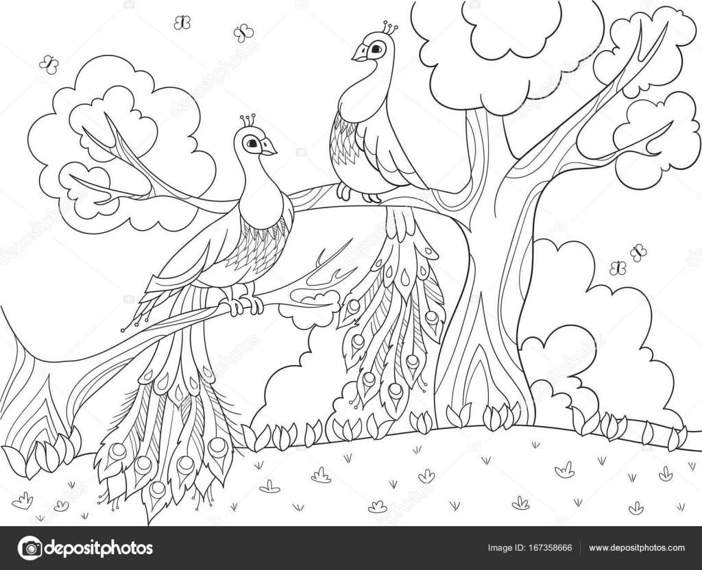 Para Colorear Dibujos Animados Para Niños. Un Pájaro, Una