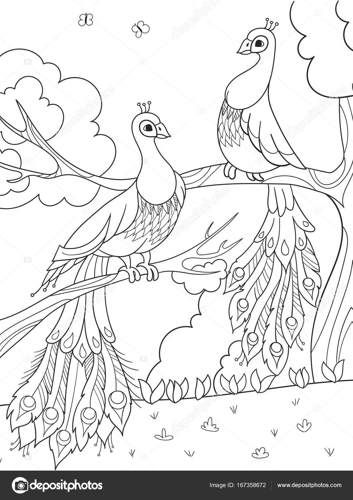 Para colorear dibujos animados para niños. Un pájaro, una pluma de ...