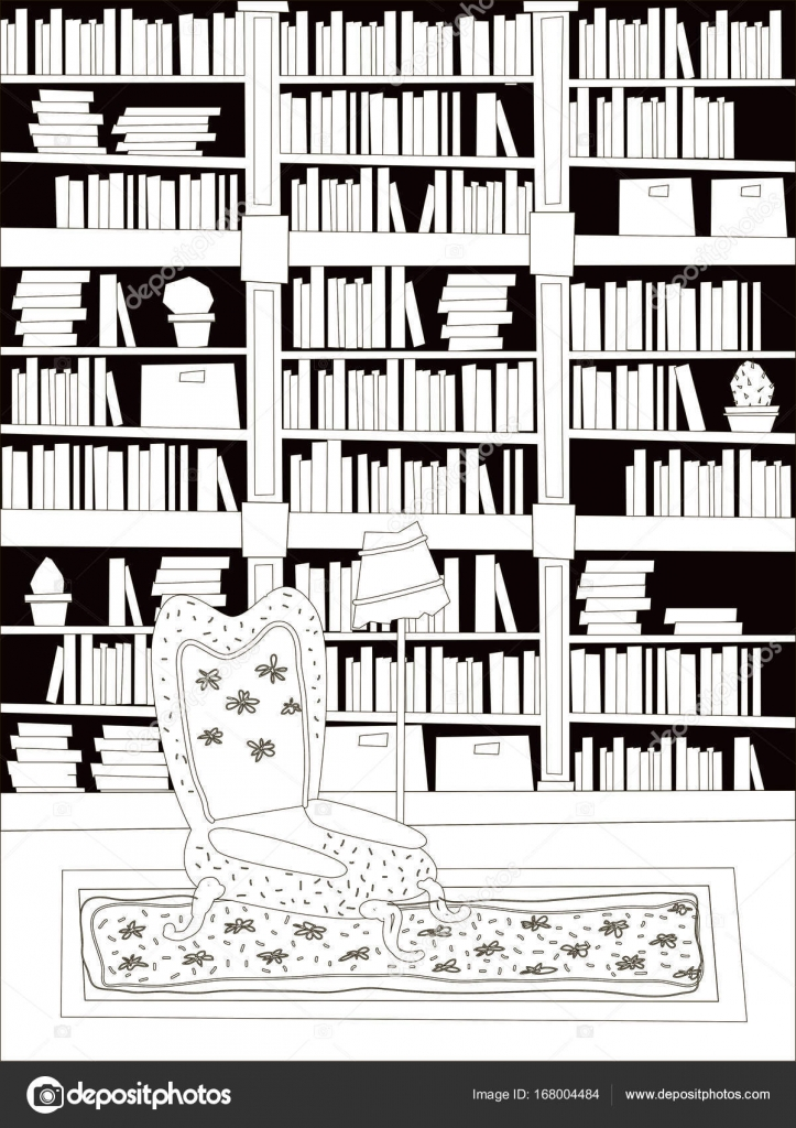 Dibujos Animados Plana Interior Biblioteca Sala Para Colorear  # Muebles Dibujos Para Colorear