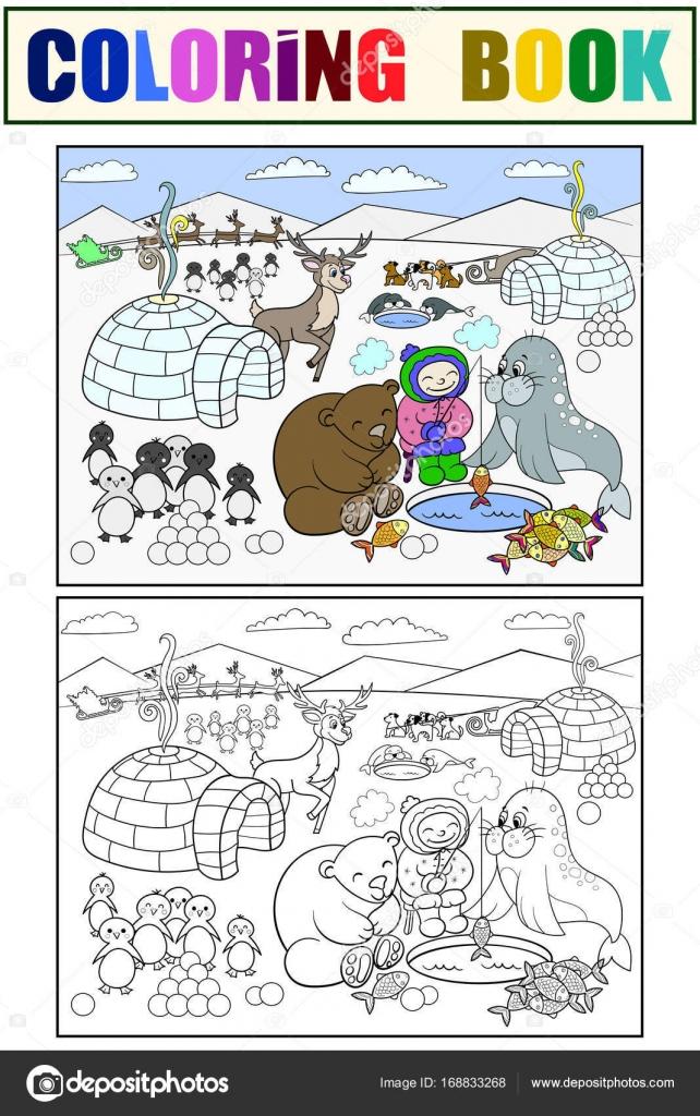 Illustration Vectorielle Du Pole Nord Coloriage Des Enfants Image
