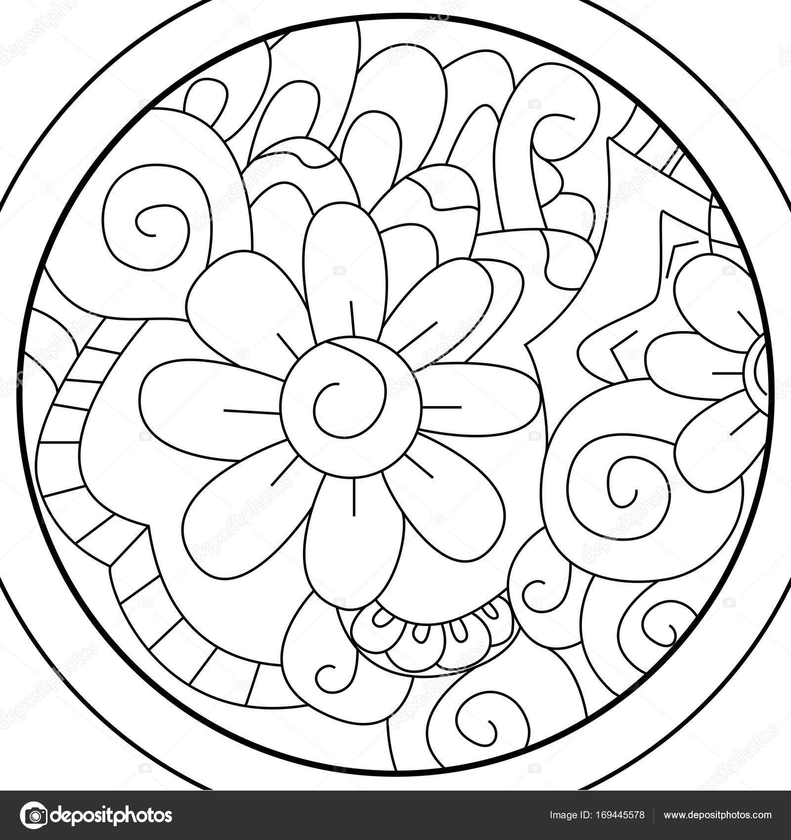 Bola flor de Mandala para colorear trama para adultos — Fotos de ...