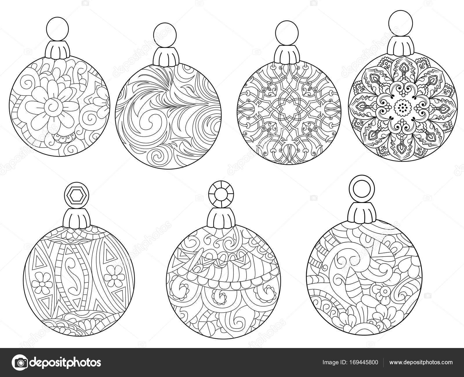 Kerstballen Raster Kleurplaten Voor Volwassenen Stockfoto