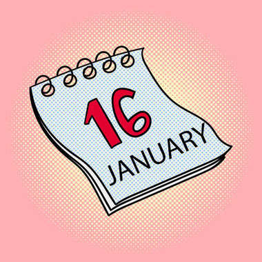 Calendar January 16 pop art raster illustration