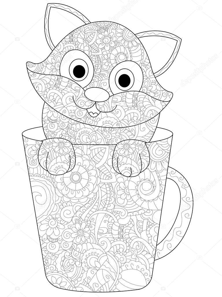 katje in een kopje raster kleurplaten voor volwassenen