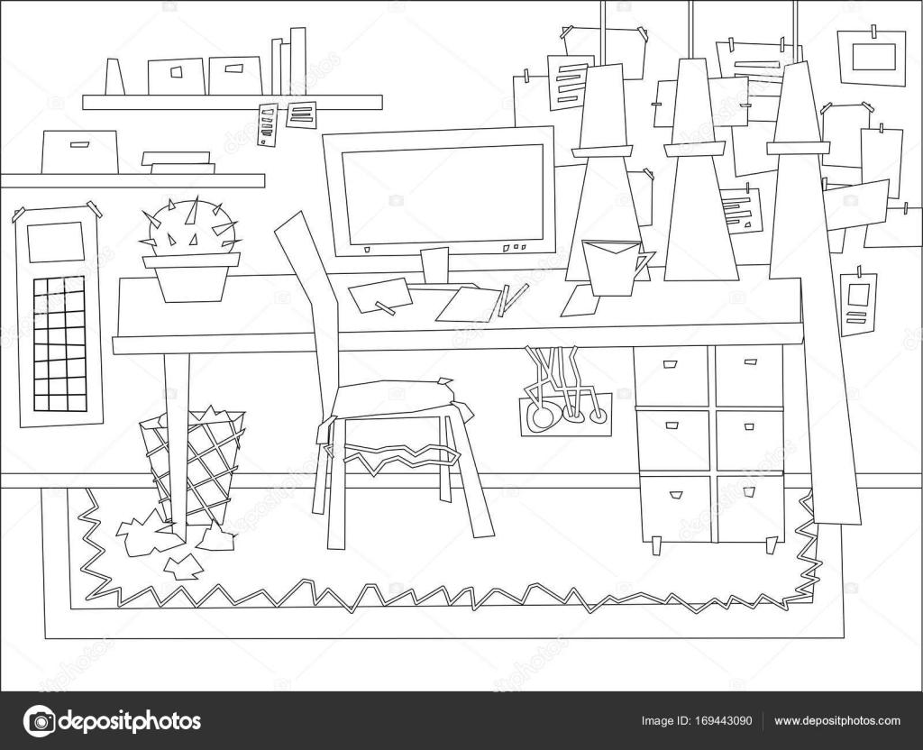 Cartoon Flat Interieur Werk Kamer Kleurplaat Vectorillustratie