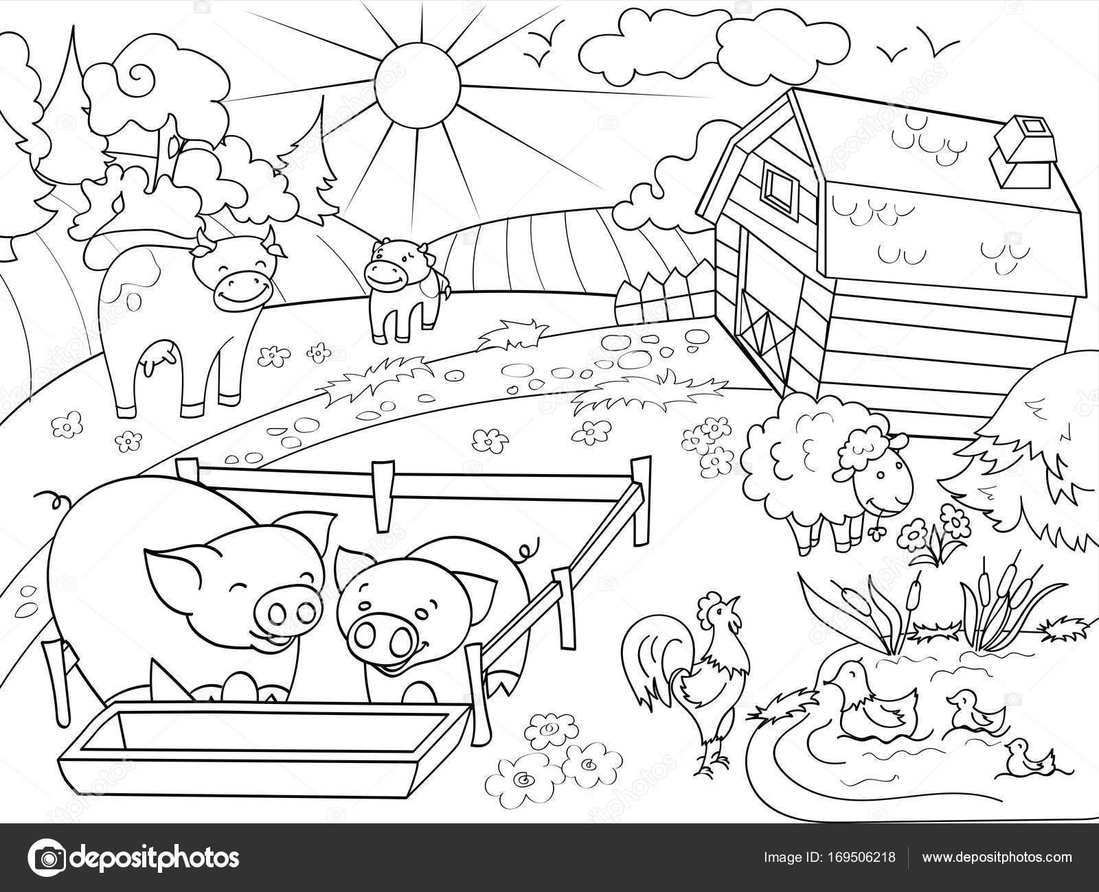Dibujos Para Colorear Paisajes Naturales: Animales De Granja Y El Paisaje Rural Para Colorear Trama