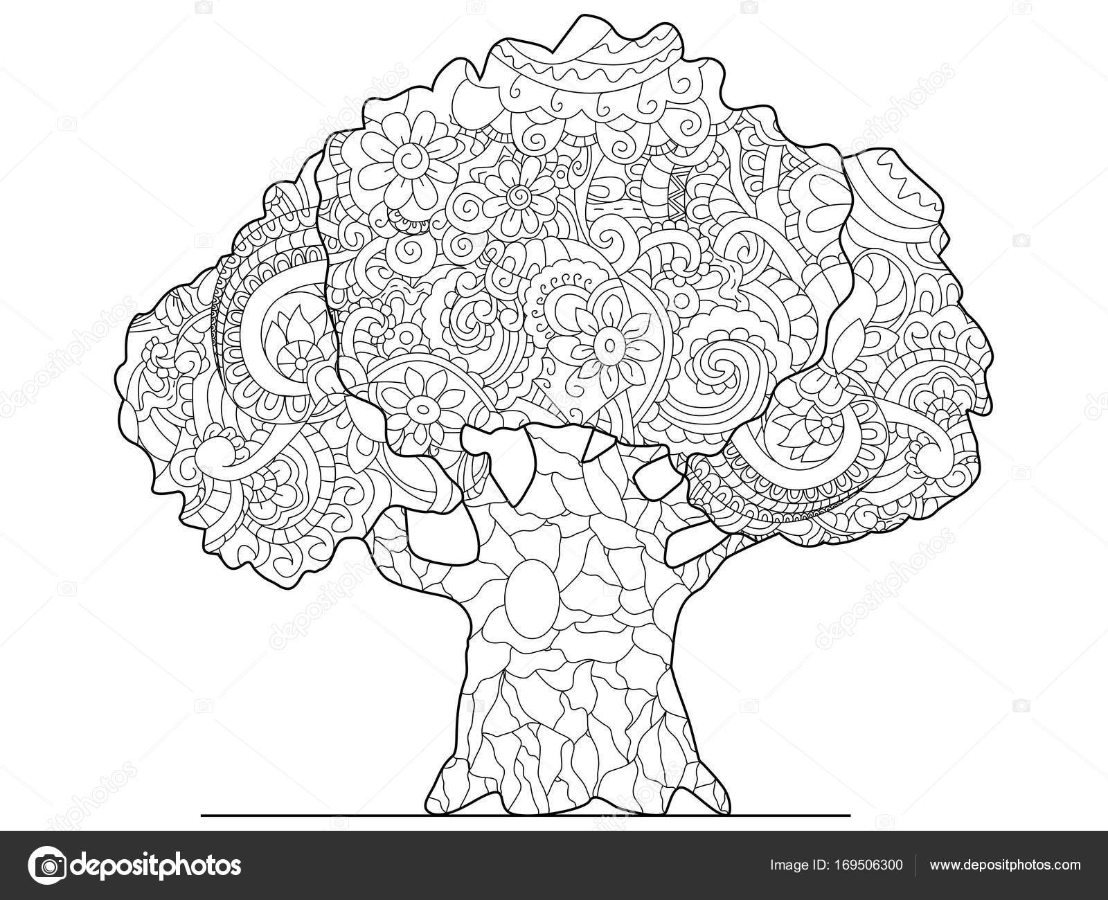 Trama de árbol para colorear para adultos — Foto de stock ...