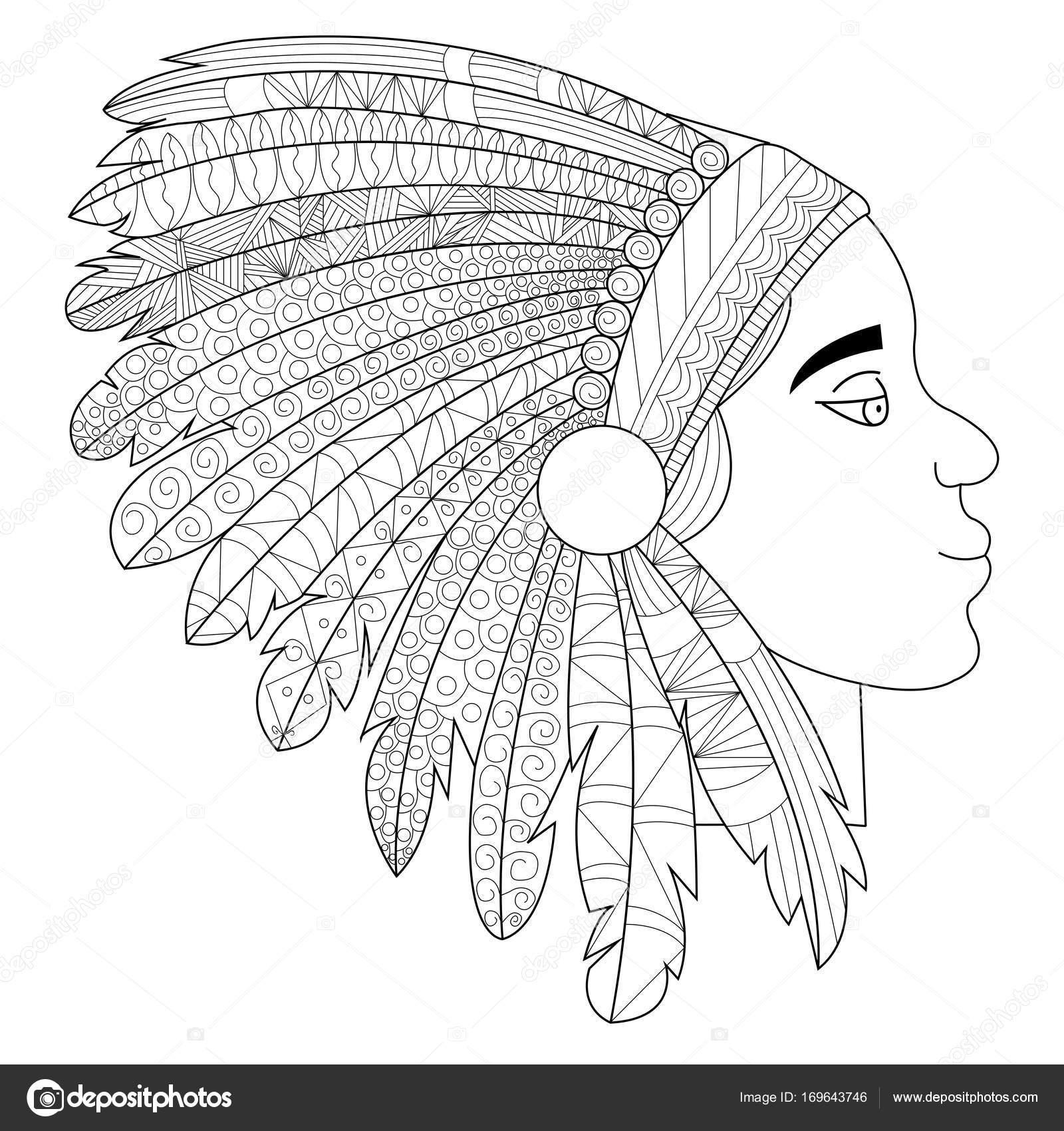Cabeza de un indio en tocado guerra bonnet raster — Foto de stock ...