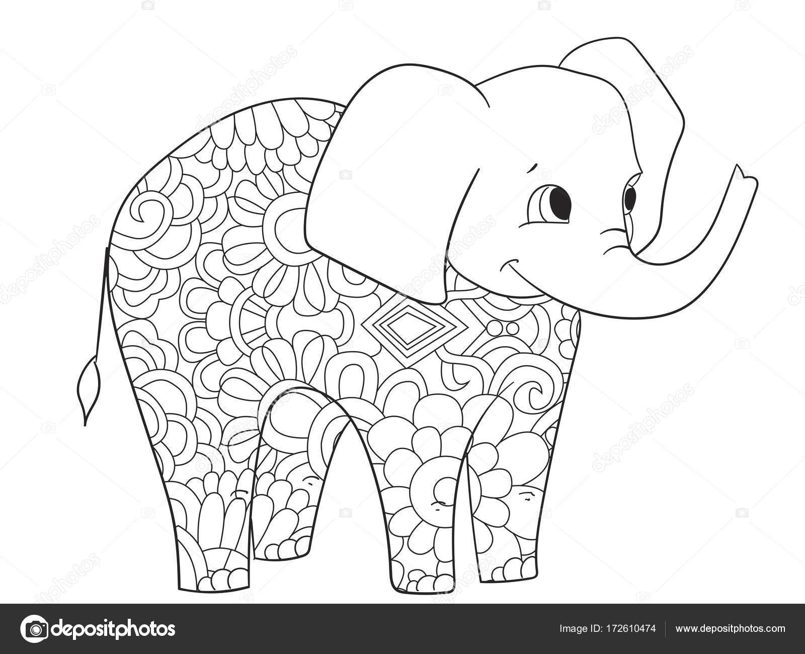 Kleurplaten Van Een Olifant.Olifanten Kleurplaten Vector Voor Volwassenen Dier Stockvector