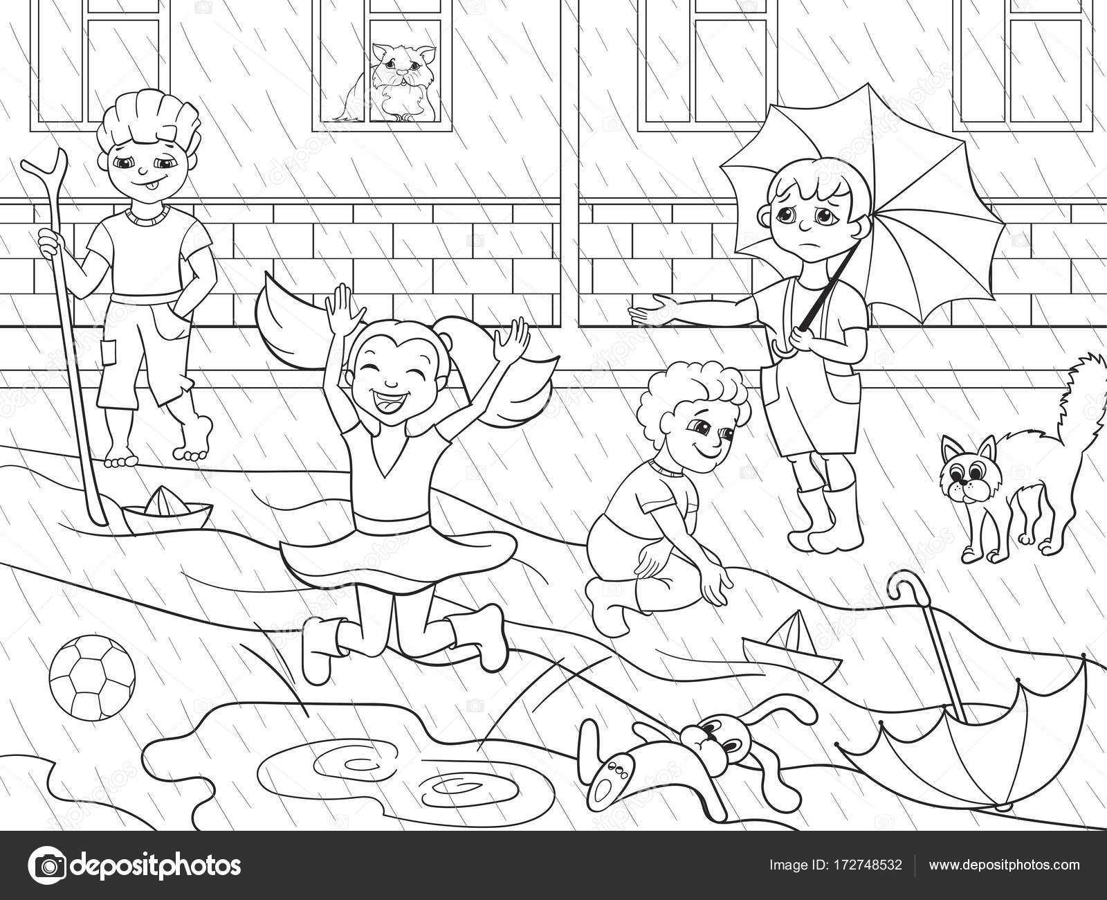 Niños para colorear a niños de trama jugando en tiempo de lluvia ...