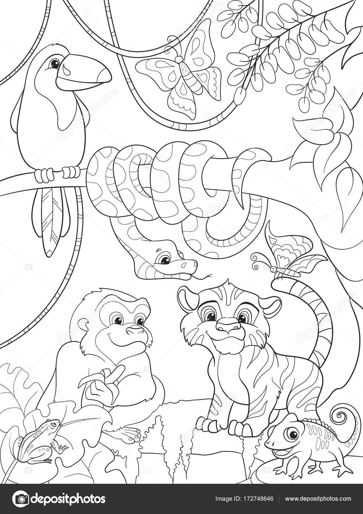 Bosque De La Selva Con Animales De La Historieta Trama Ilustración