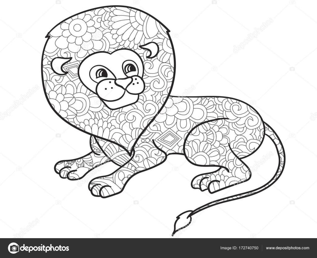 Lion Coloriage De Vecteur Pour Des Animaux Adultes Image