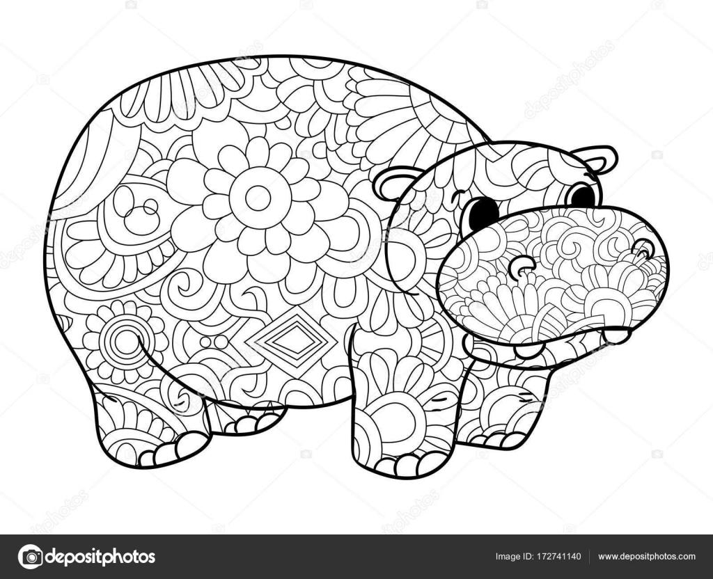 Nijlpaard Kleurplaten Vector Voor Volwassenen Dier Stockvector