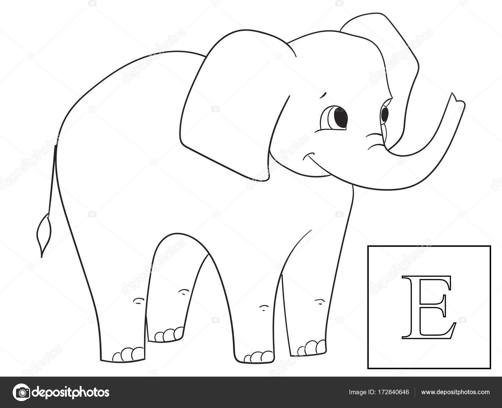 Aprender el nombre de animales africanos. Elefante de la inscripción ...