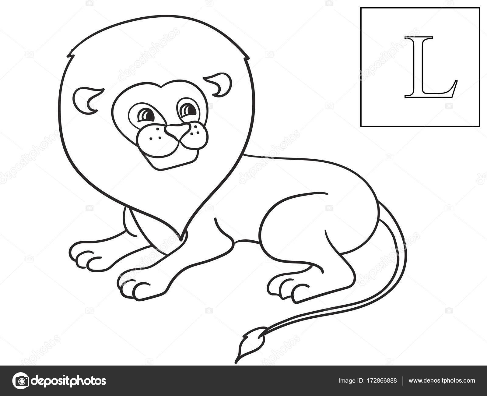 Lear el nombre de animales africanos. León de la inscripción. Vector ...