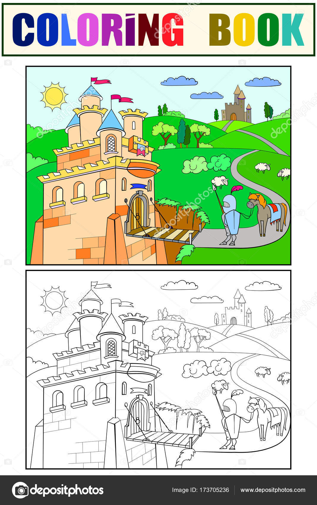 Vector de knightly Castillo de dibujos animados para colorear de ...
