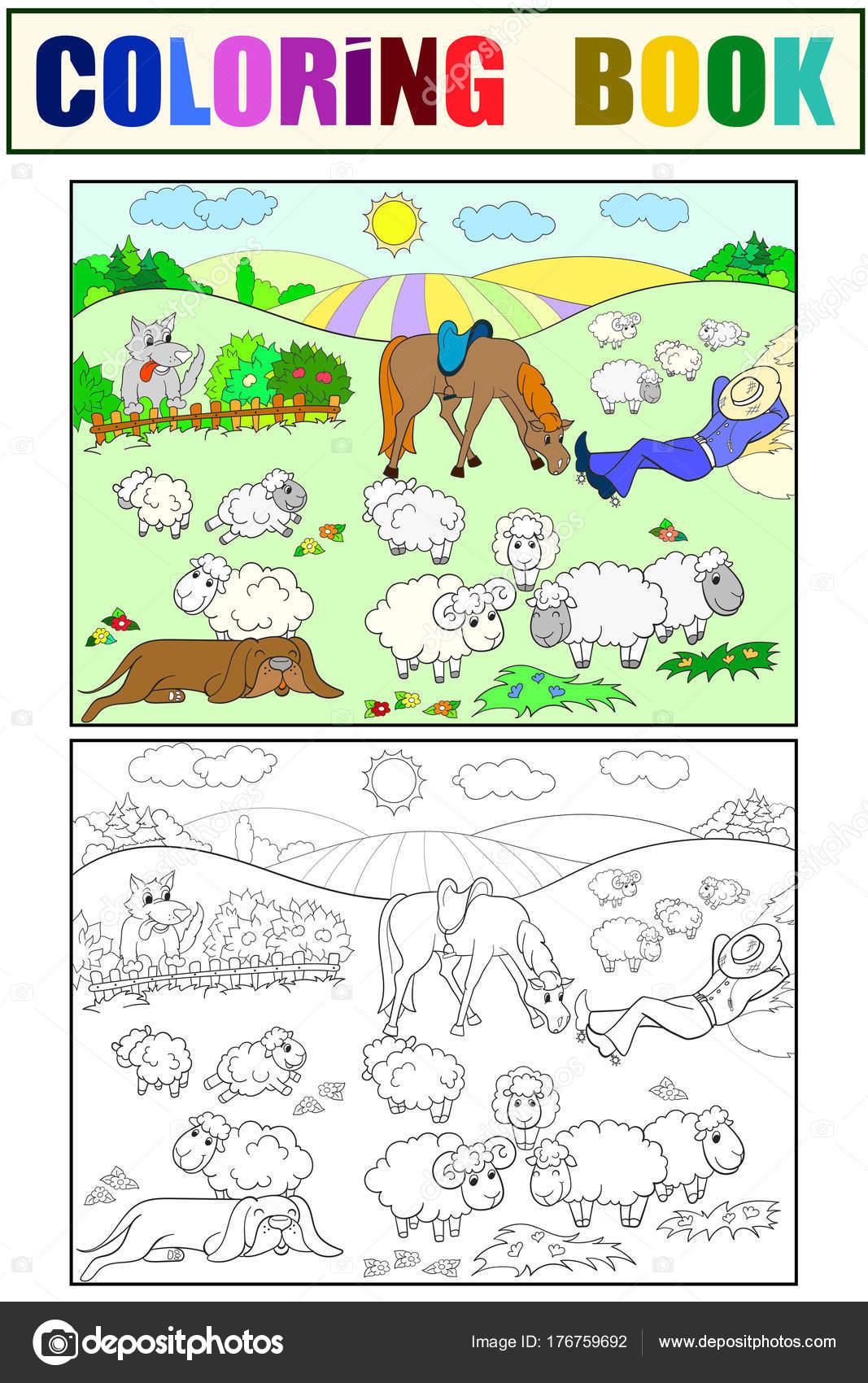 Animado: dibujo perro cuidador de ovejas | Pasto de ovejas con un ...
