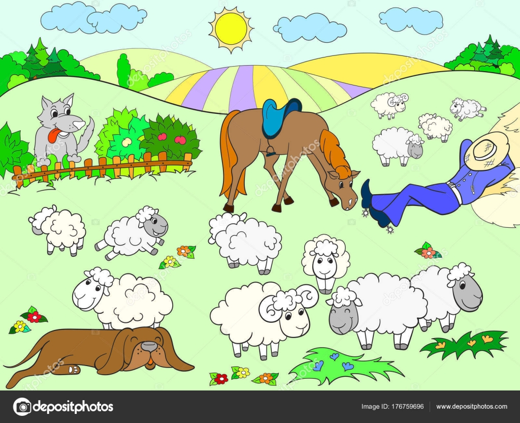 Pasture sheep with a shepherd and dog coloring for children cartoon ...