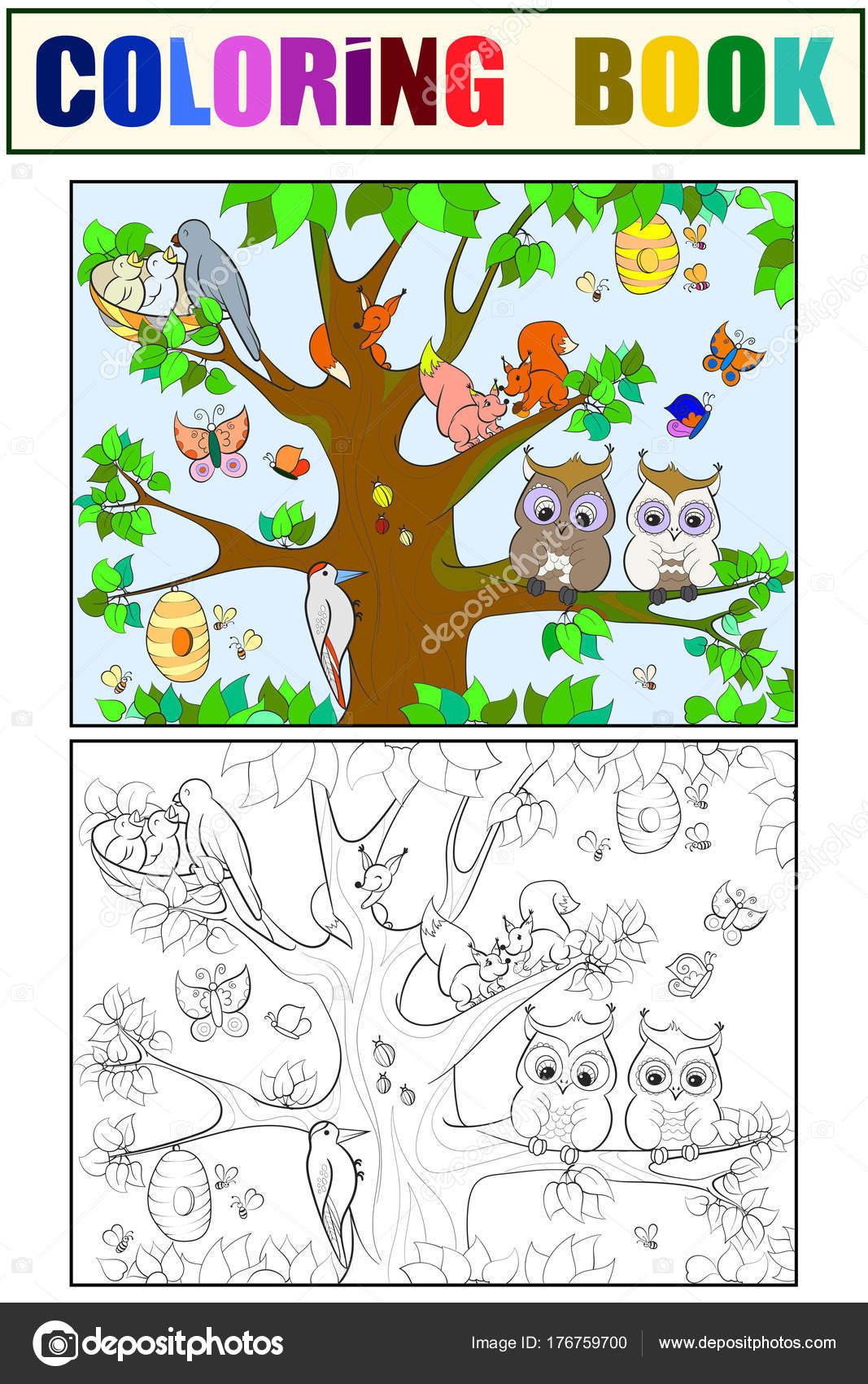 Tiere und Vögel Leben auf dem Baum Malvorlagen für Kinder cartoon ...