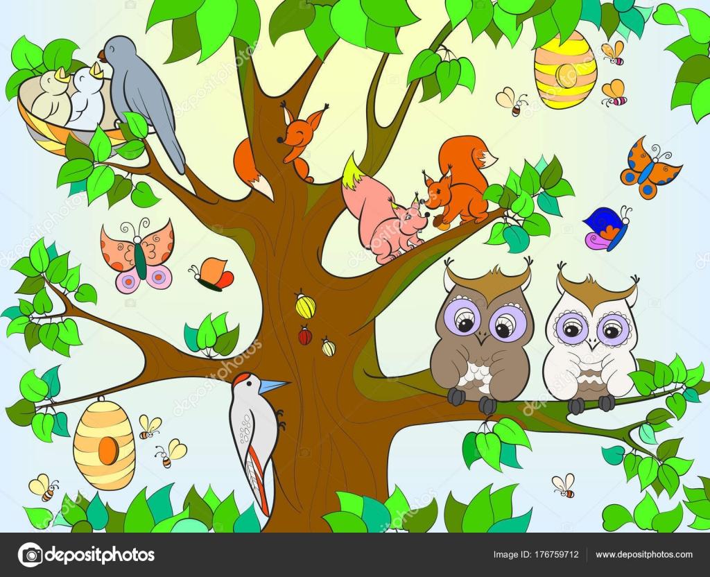 Hayvanlar Ve çocuklar Için Boyama Ağaçta Yaşayan Kuşlar Vektör çizim