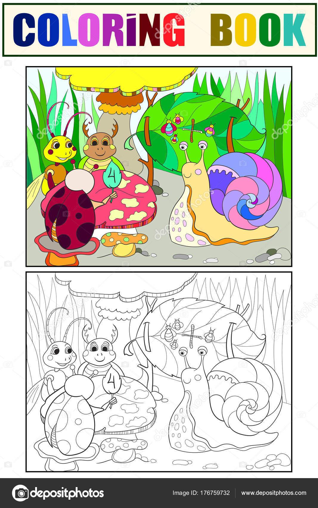 Insekten lernen Mathematik Färbung für Kinder-Cartoon-Vektor ...