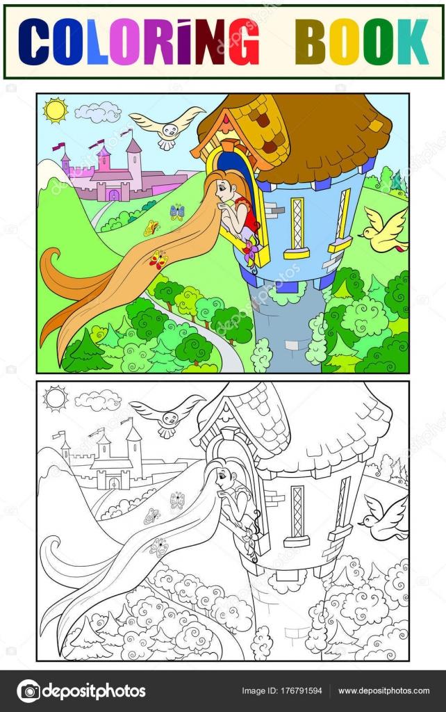 Prenses Rapunzel çocuk çizgi Film Vektör çizim Için Taş Kule Boyama