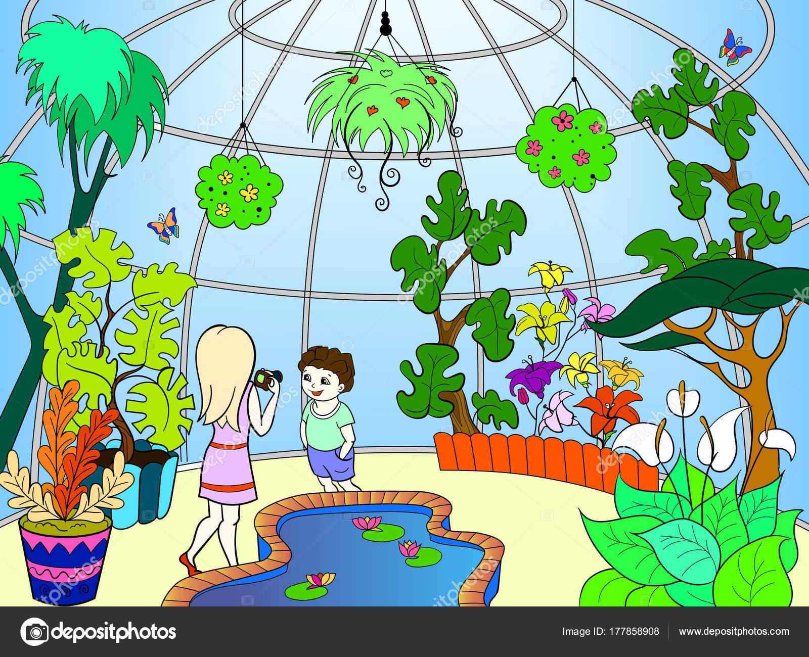Ilustraci n de vector de dibujos animados de jard n for Jardin dibujo