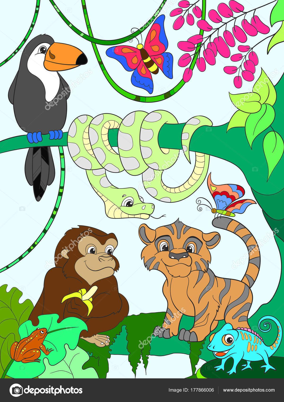 Forêt de la jungle avec le vecteur de dessin animé animaux ...