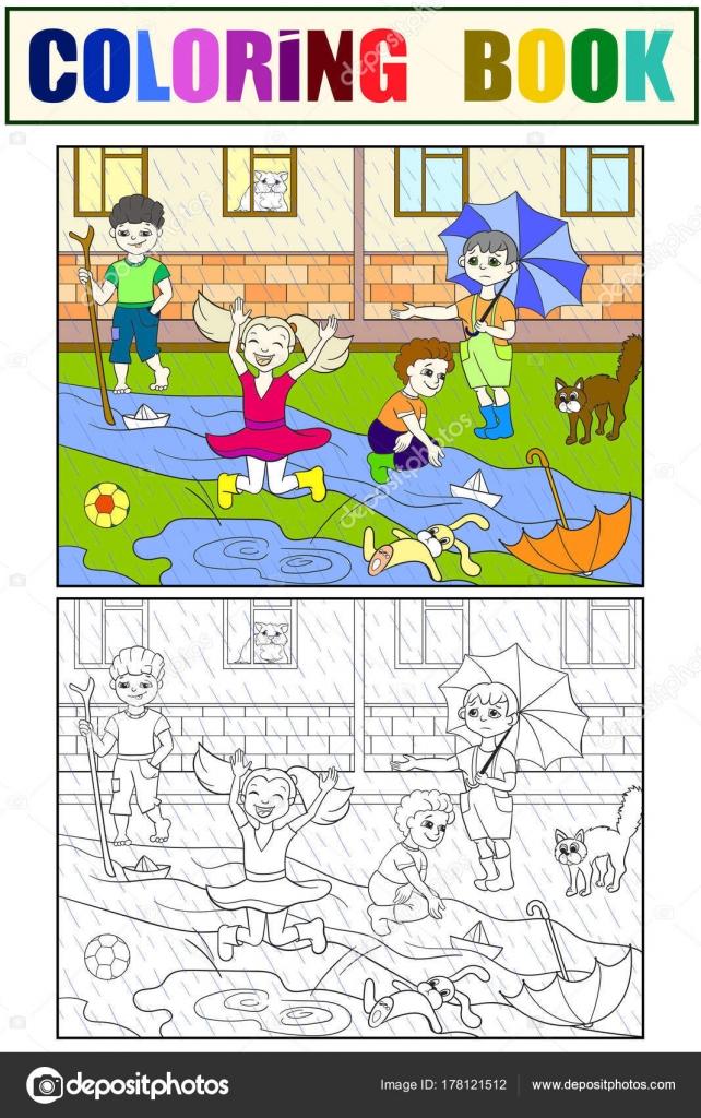 Yağmurlu Havalarda Oynayan Vektör çocuk Boyama çocuklar Stok