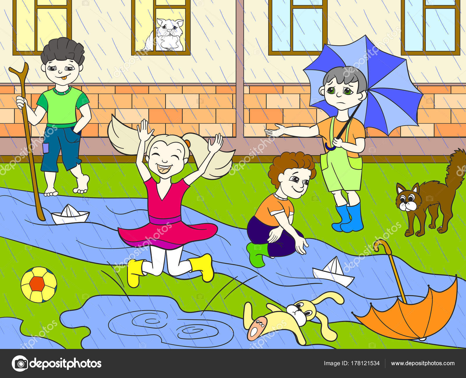 Kids color vector children playing in rainy weather — Stock Vector ...