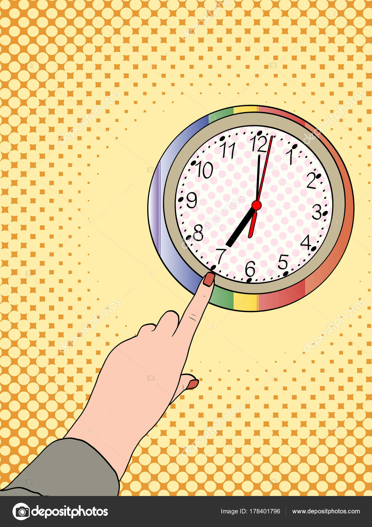 Pop art hand shows on a wall clock. Half past seven in the morning ...