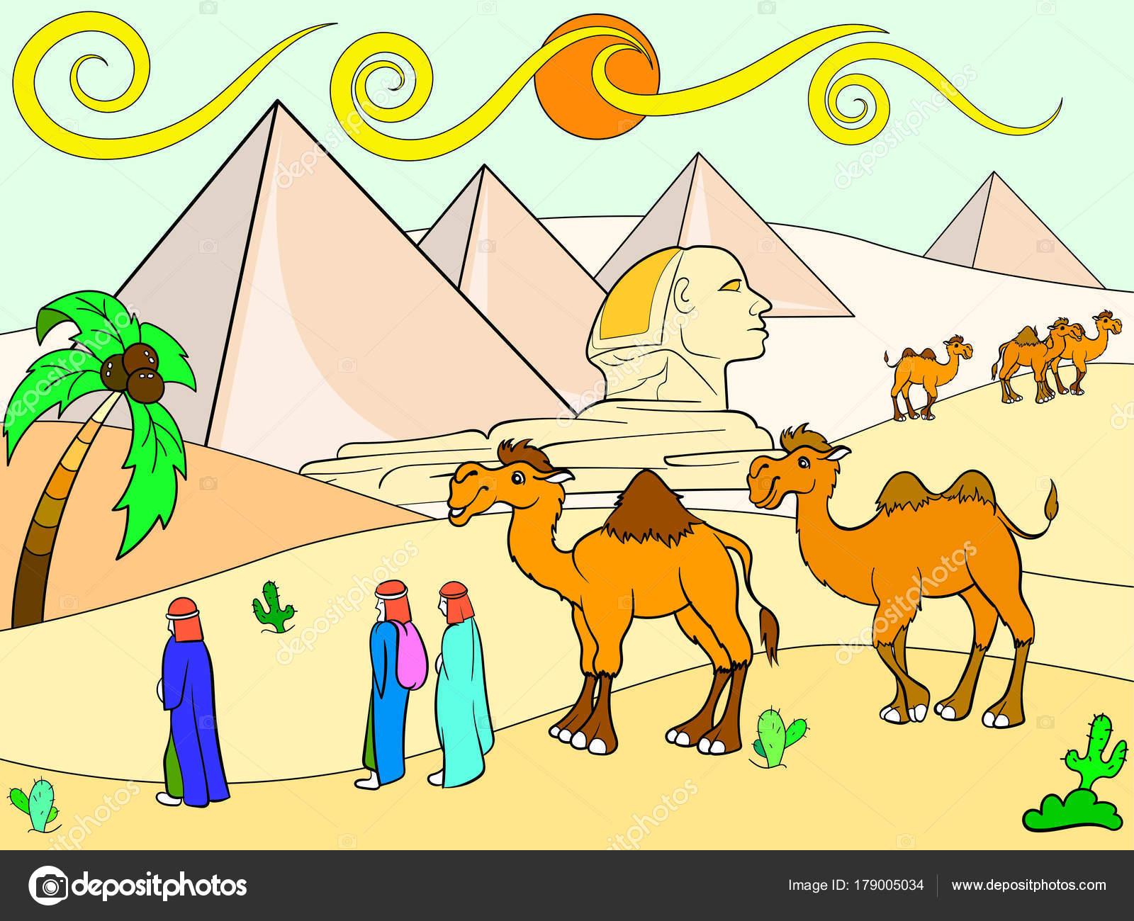 çocuklar Renk Vektör Yatay Mısır Piramitleri Stok Vektör