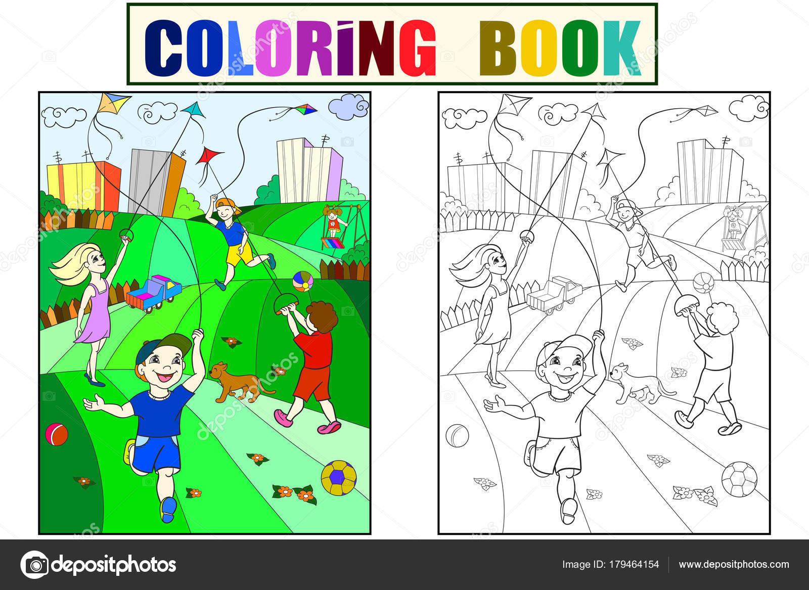 Boyama Renk Siyah Ve Beyaz Oyun Uçurtma Uçan çocuk Stok Vektör