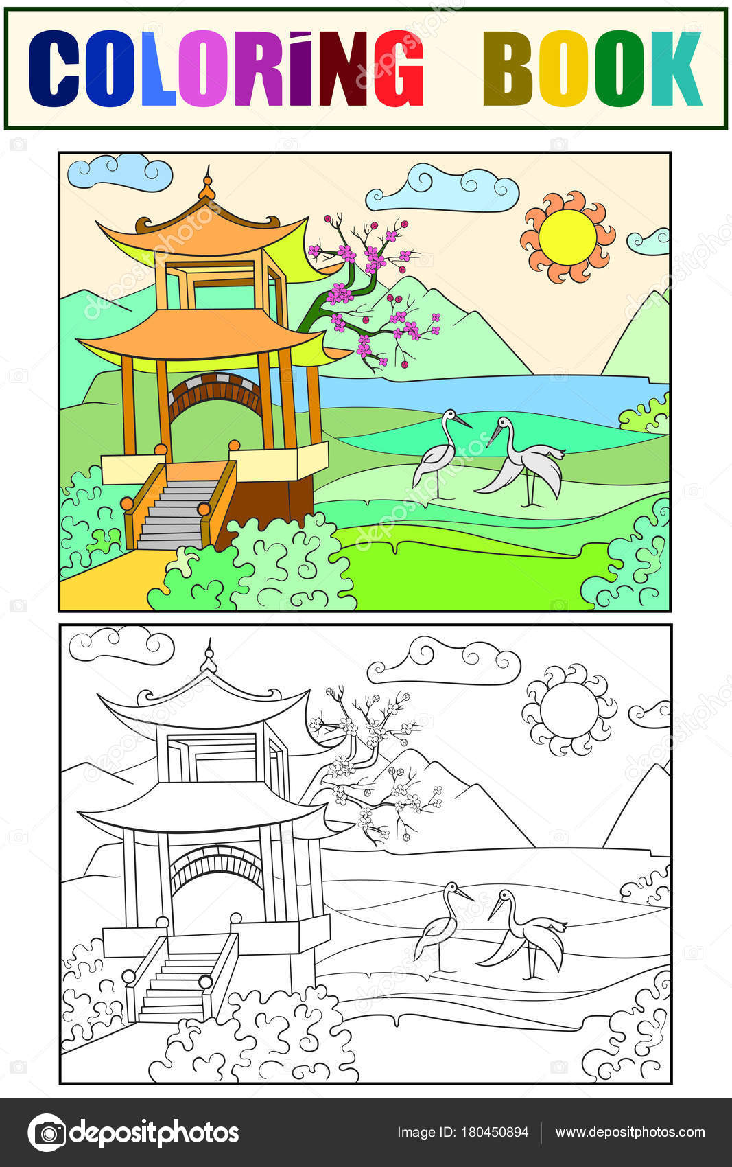 Art der Japan Malbuch für Kinder-Illustration Cartoon. Weiß, schwarz ...