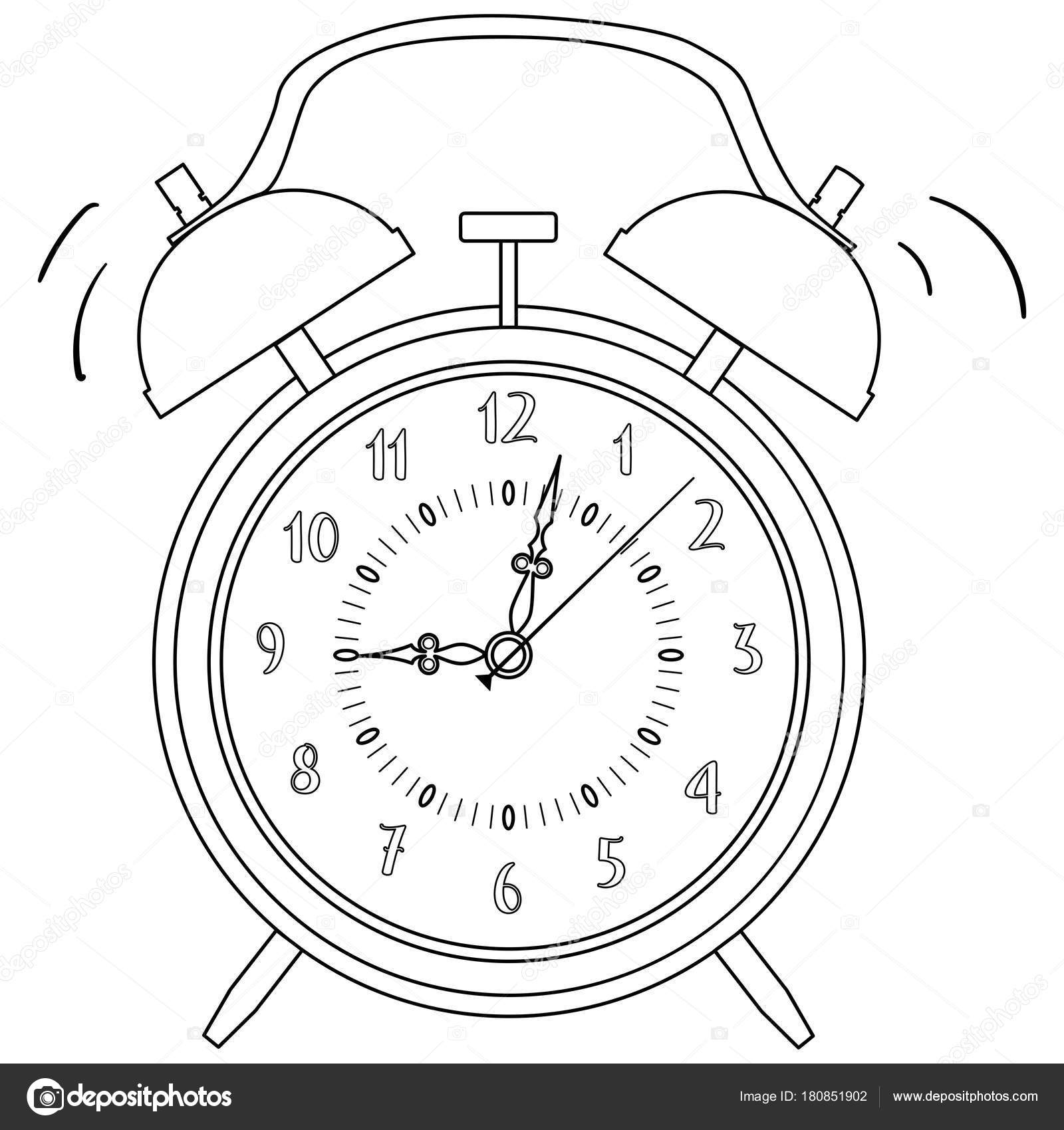 Boyama Siyah Ve Beyaz çalar Saat Vektör çizim Stok Vektör