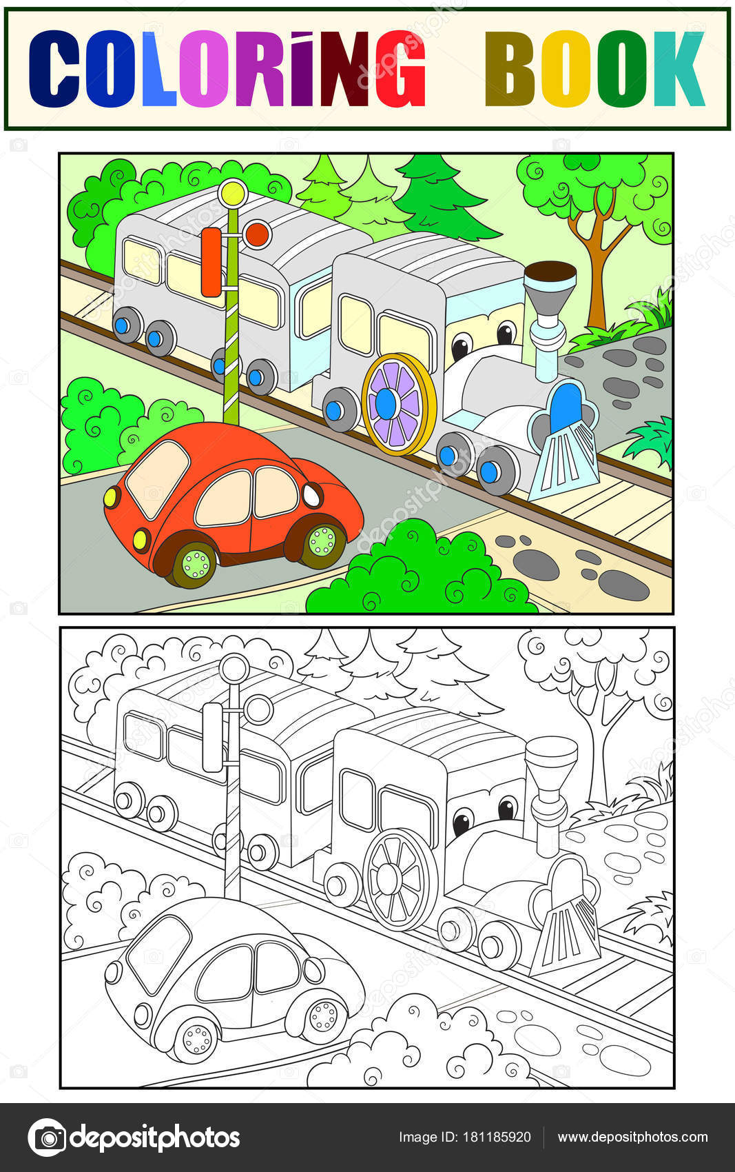 Cartoon train and car coloring, black and white book for children ...