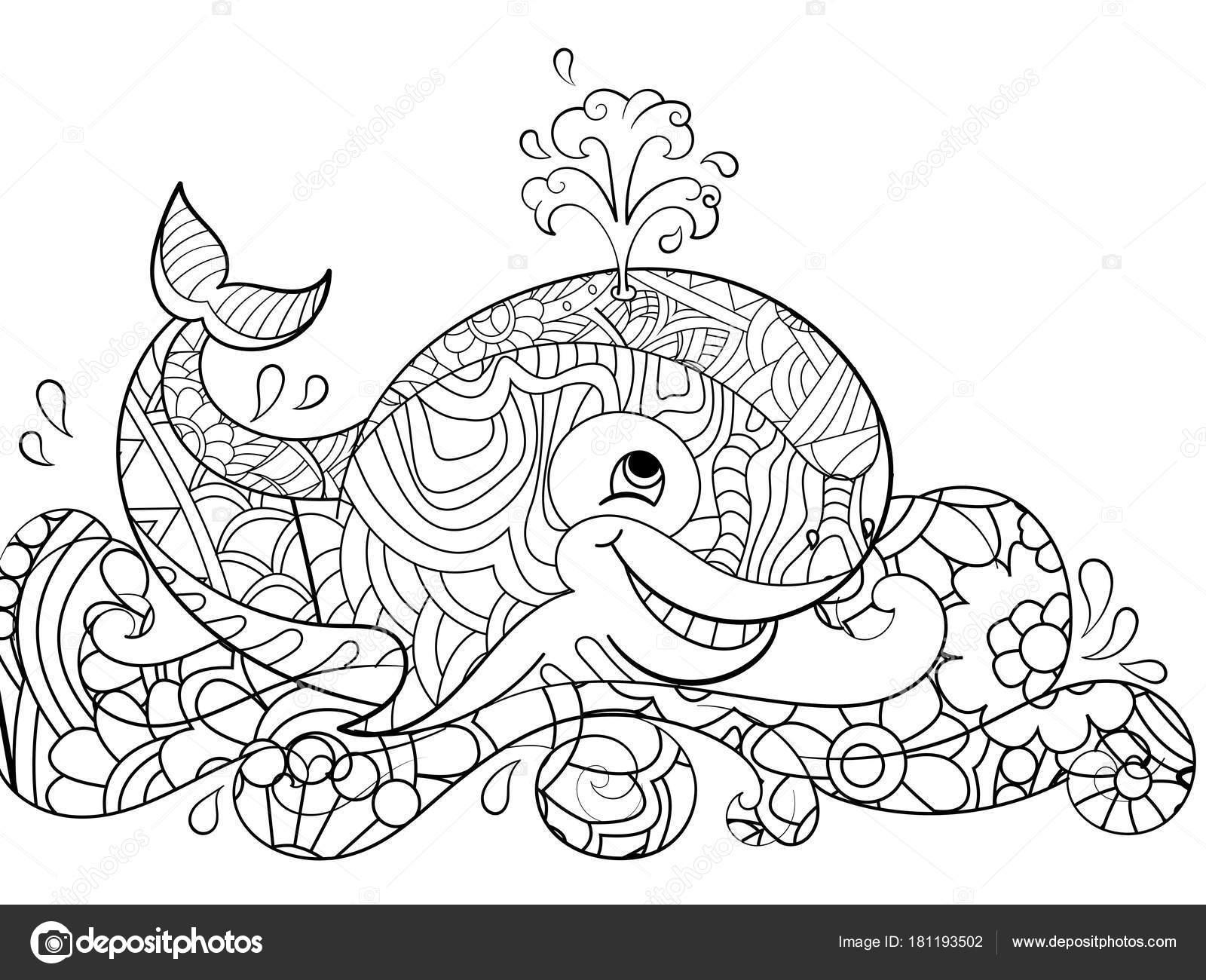 Antiestrés para colorear ballena sobre las olas. Garabatos, líneas ...