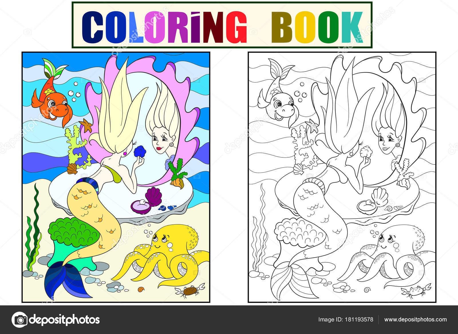 sirena se ve en el espejo libro de colorear para niños de dibujos ...