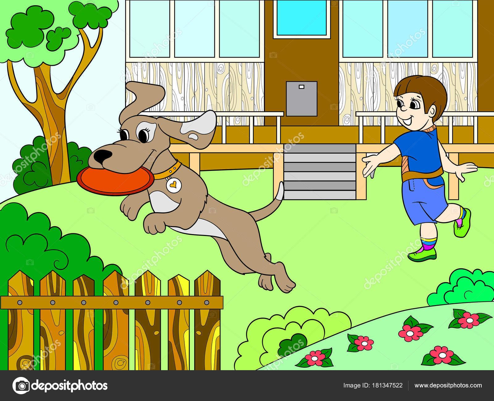 Ein Junge in der Natur mit einem Hund spielen in Frisbee Farbbuch ...