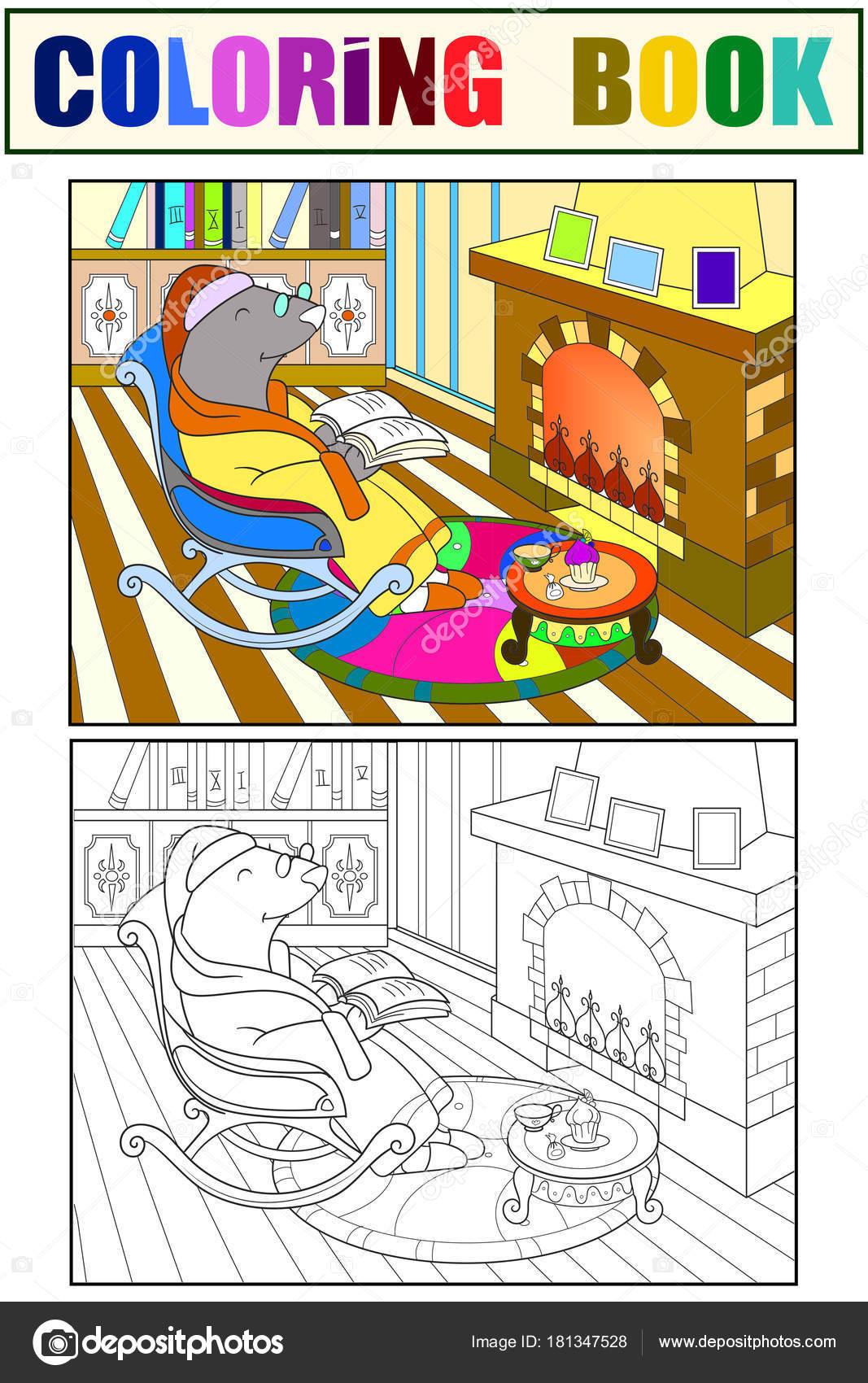 Imágenes Bibliotecas Para Colorear Mole De Abuelo En Su Casa En