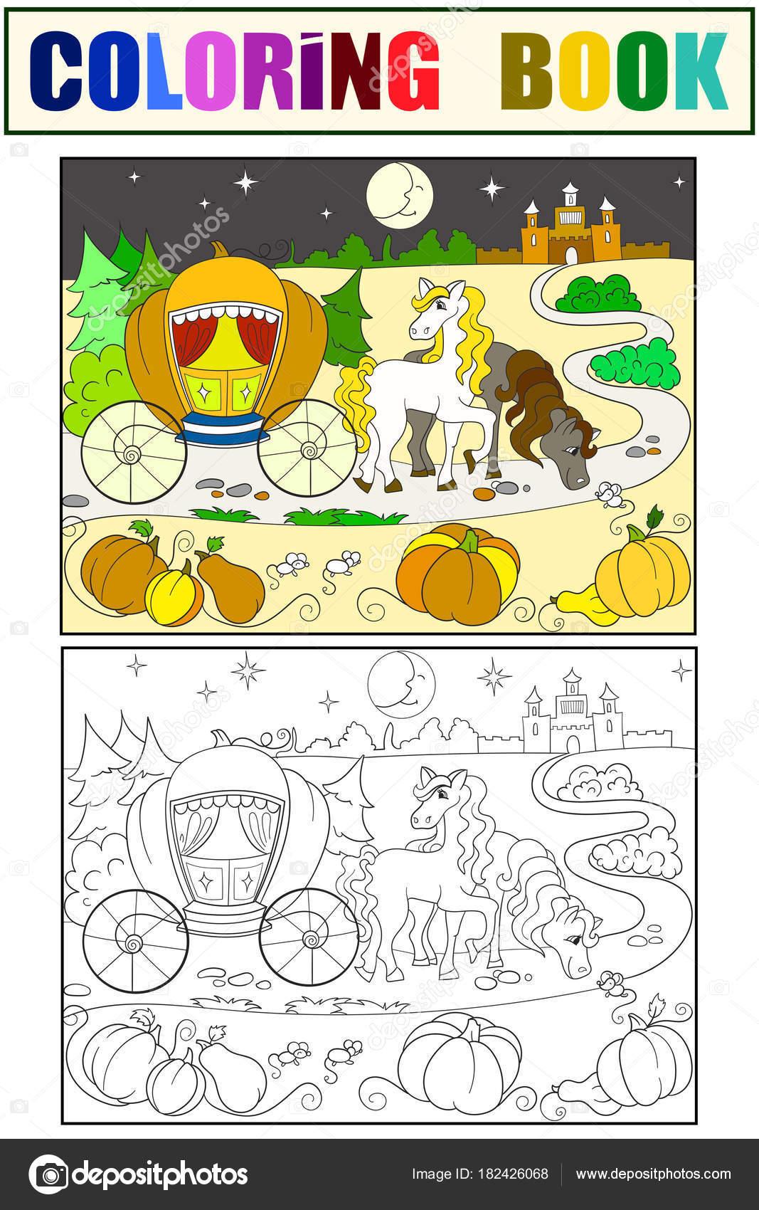 Aschenputtel-Märchen Malbuch für Kinder-Vektor Cartoon. Farbe ...