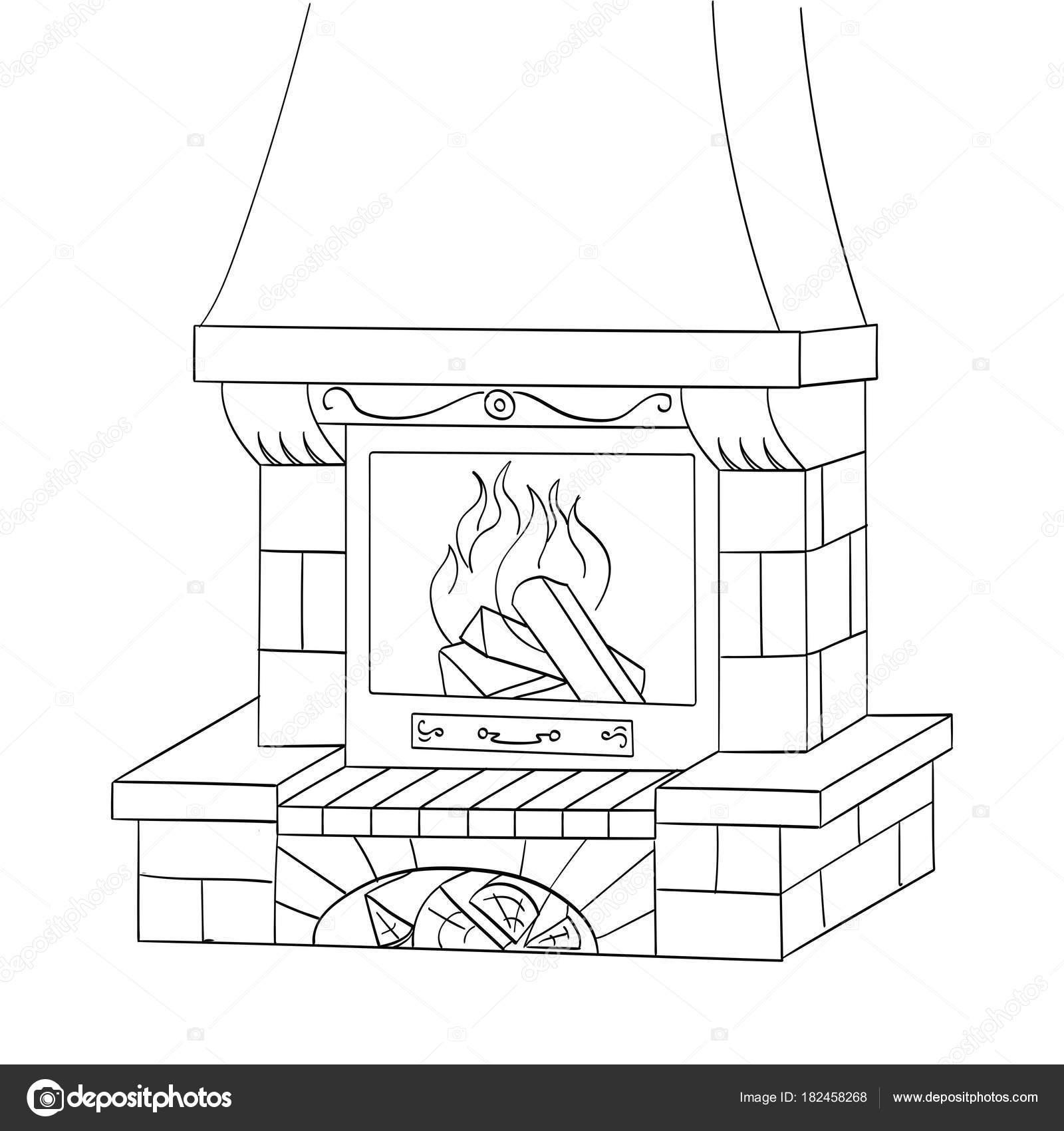 Vector de objetos para colorear. Una chimenea de ladrillo quema un ...