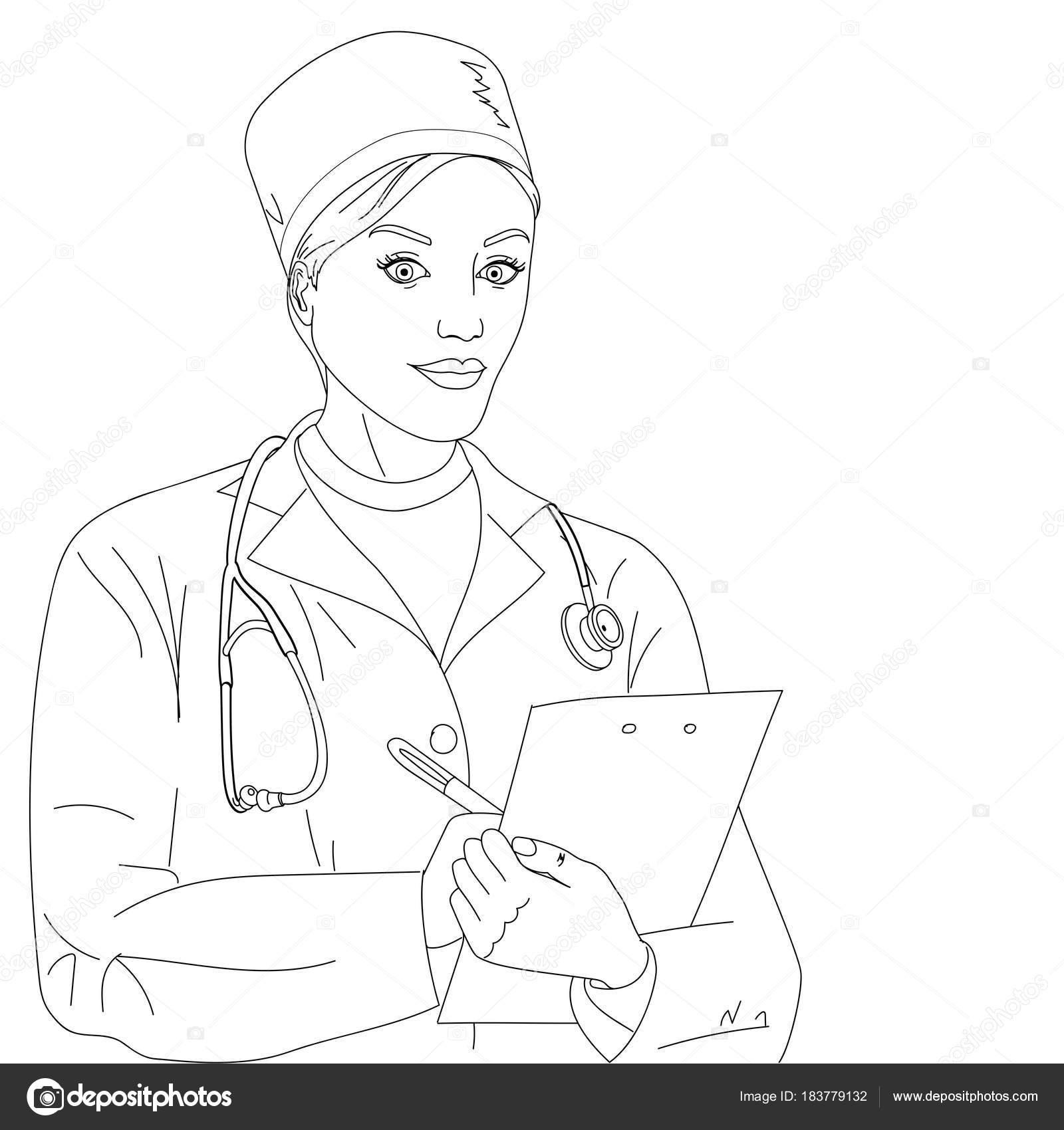 Imágenes Cardiologo Para Colorear Médico De La Mujer Una