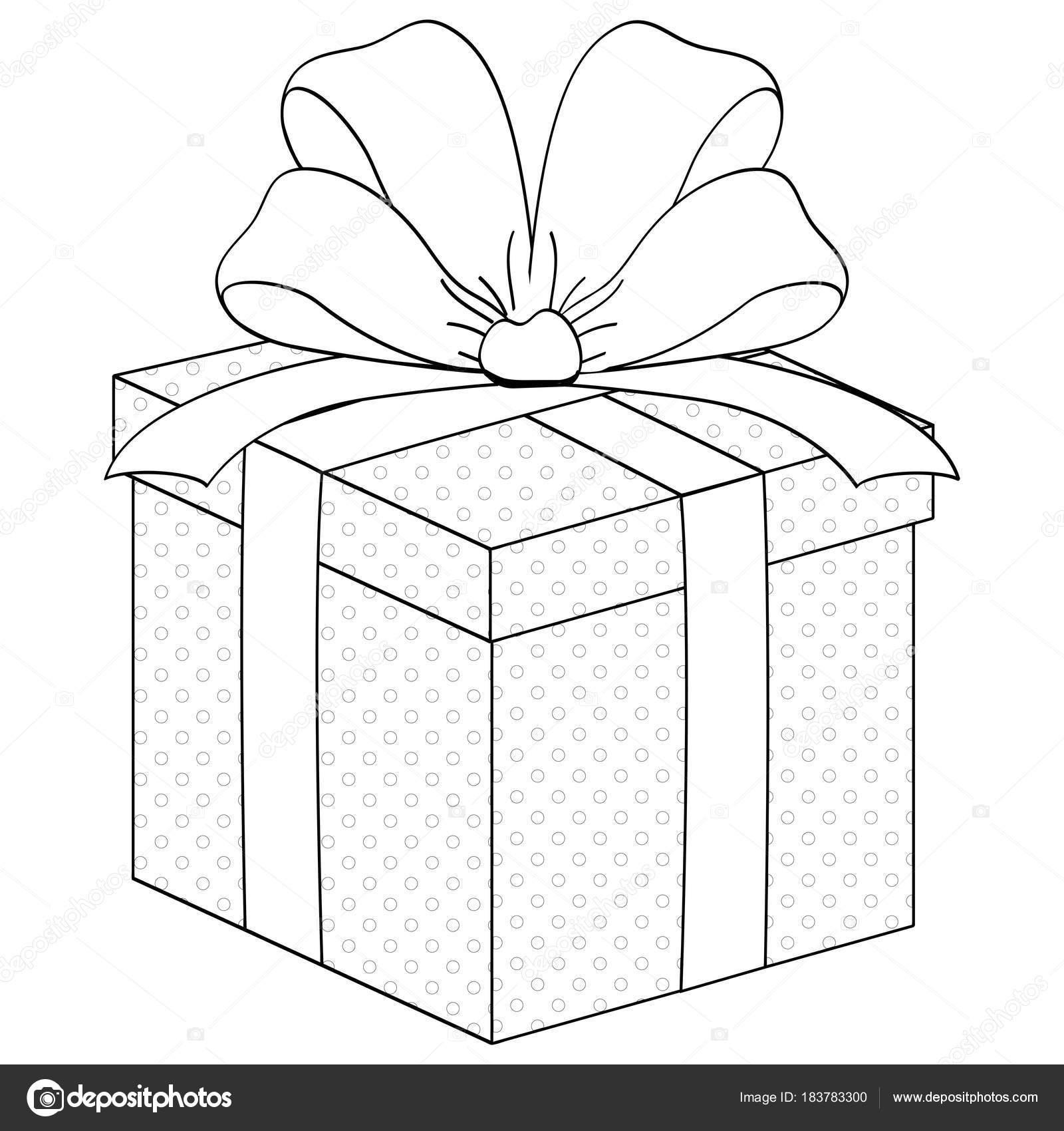 Caja de regalo, sorpresa con la cinta. Vector para colorear — Vector ...