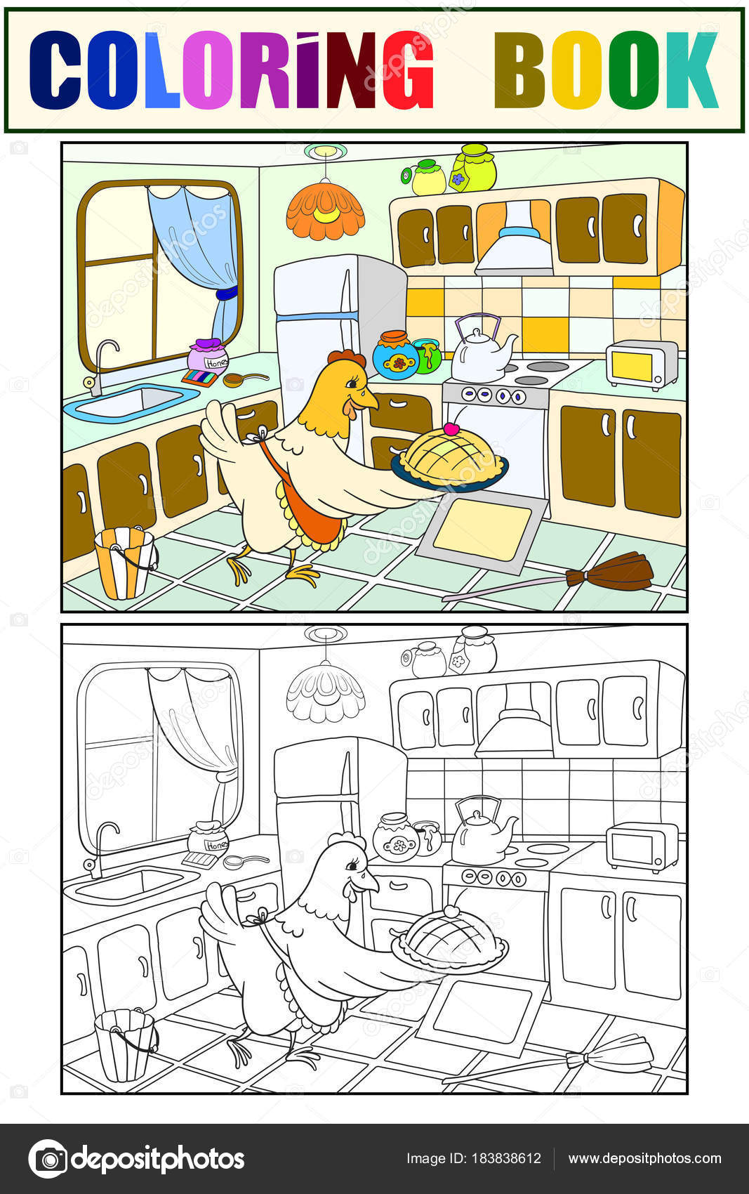 Mom chicken in the kitchen prepares food for the family color book ...